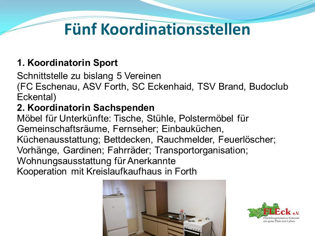 Fünf Koordinationsstellen 1. Koordinatorin Sport Schnittstelle zu bislang 5 Vereinen (FC Eschenau, ASV Forth, SC Eckenhaid, TSV Brand, Budoclub Eckent