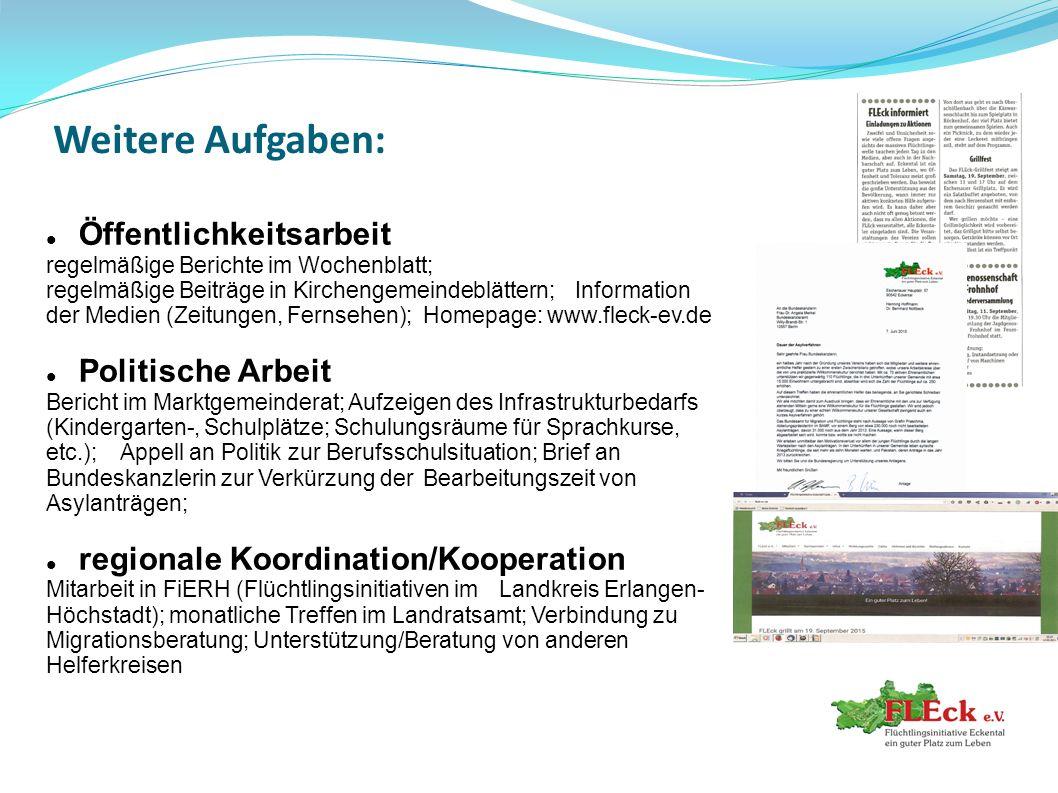 Weitere Aufgaben: Öffentlichkeitsarbeit regelmäßige Berichte im Wochenblatt; regelmäßige Beiträge in Kirchengemeindeblättern;Information der Medien (Z