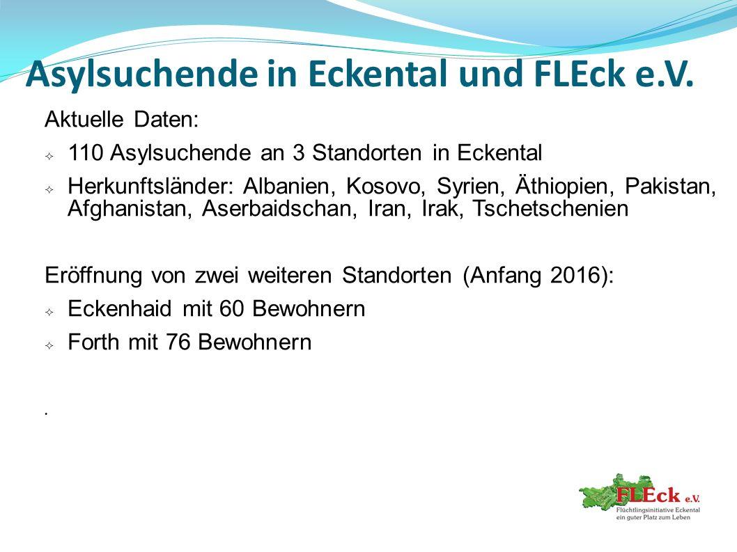 Asylsuchende in Eckental und FLEck e.V. Aktuelle Daten:  110 Asylsuchende an 3 Standorten in Eckental  Herkunftsländer: Albanien, Kosovo, Syrien, Ät