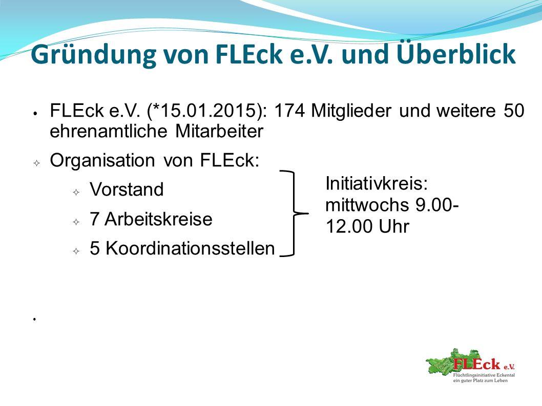 Gründung von FLEck e.V. und Überblick FLEck e.V. (*15.01.2015): 174 Mitglieder und weitere 50 ehrenamtliche Mitarbeiter  Organisation von FLEck:  Vo