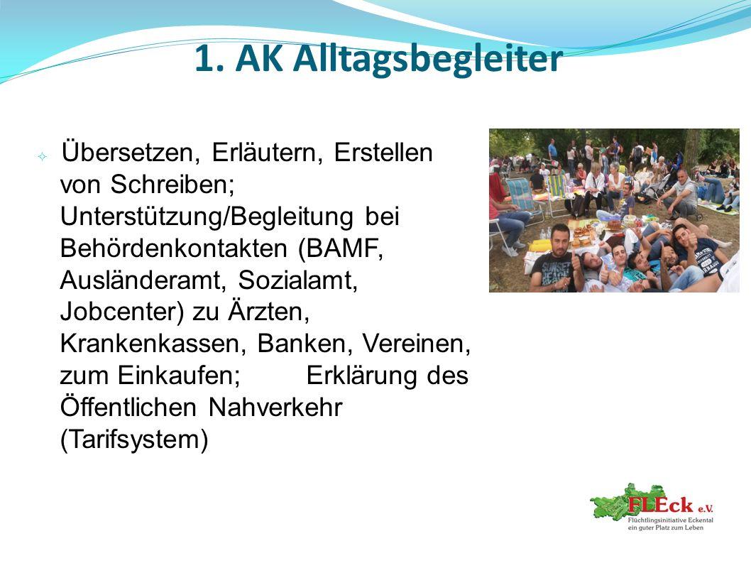 1. AK Alltagsbegleiter  Übersetzen, Erläutern, Erstellen von Schreiben; Unterstützung/Begleitung bei Behördenkontakten (BAMF, Ausländeramt, Sozialamt