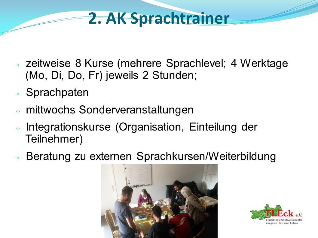2. AK Sprachtrainer  zeitweise 8 Kurse (mehrere Sprachlevel; 4 Werktage (Mo, Di, Do, Fr) jeweils 2 Stunden;  Sprachpaten  mittwochs Sonderveranstal