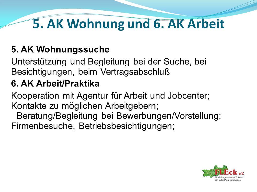 5. AK Wohnung und 6. AK Arbeit 5. AK Wohnungssuche Unterstützung und Begleitung bei der Suche, bei Besichtigungen, beim Vertragsabschluß 6. AK Arbeit/