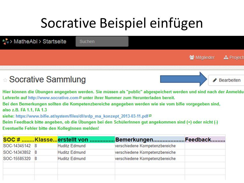 Socrative Beispiel einfügen