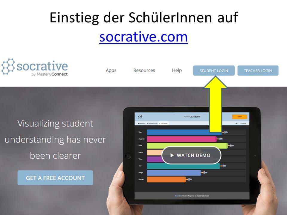Einstieg der SchülerInnen auf socrative.com socrative.com