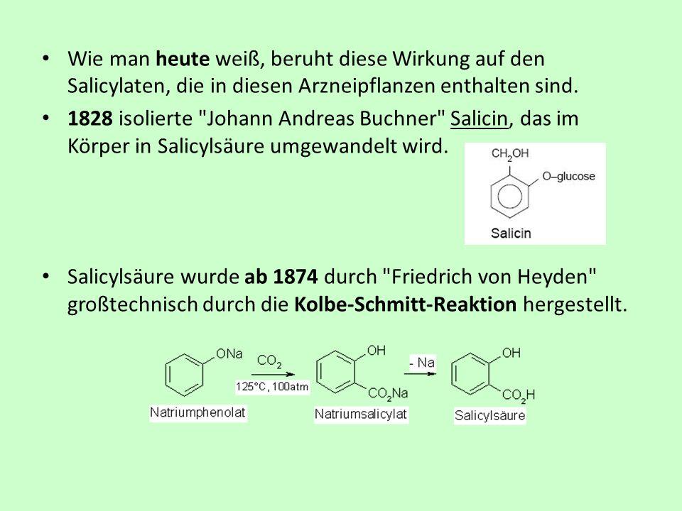 Wie man heute weiß, beruht diese Wirkung auf den Salicylaten, die in diesen Arzneipflanzen enthalten sind. 1828 isolierte