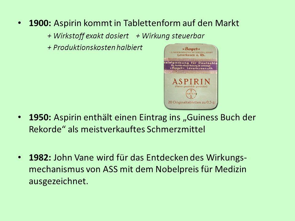 1900: Aspirin kommt in Tablettenform auf den Markt + Wirkstoff exakt dosiert + Wirkung steuerbar + Produktionskosten halbiert 1950: Aspirin enthält ei