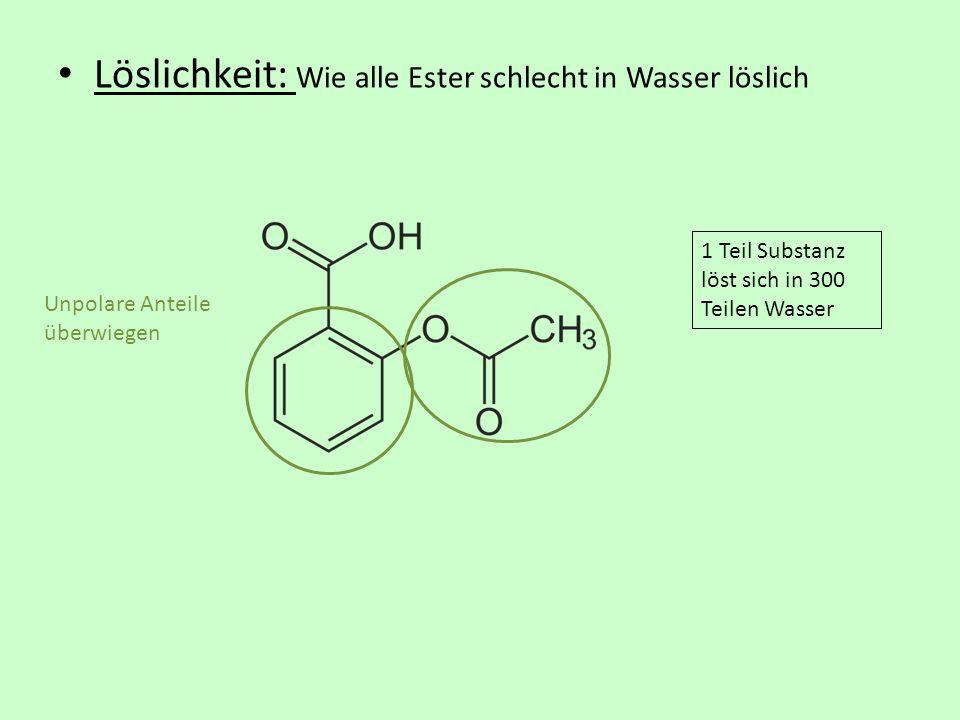 Löslichkeit: Wie alle Ester schlecht in Wasser löslich Unpolare Anteile überwiegen 1 Teil Substanz löst sich in 300 Teilen Wasser