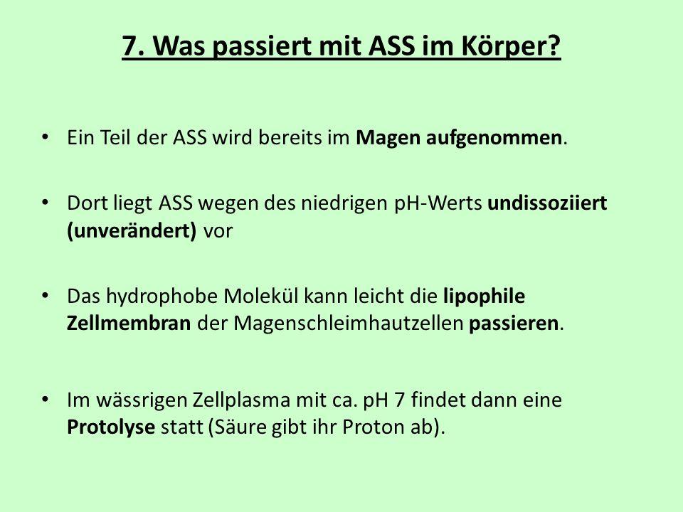 7. Was passiert mit ASS im Körper? Ein Teil der ASS wird bereits im Magen aufgenommen. Dort liegt ASS wegen des niedrigen pH-Werts undissoziiert (unve