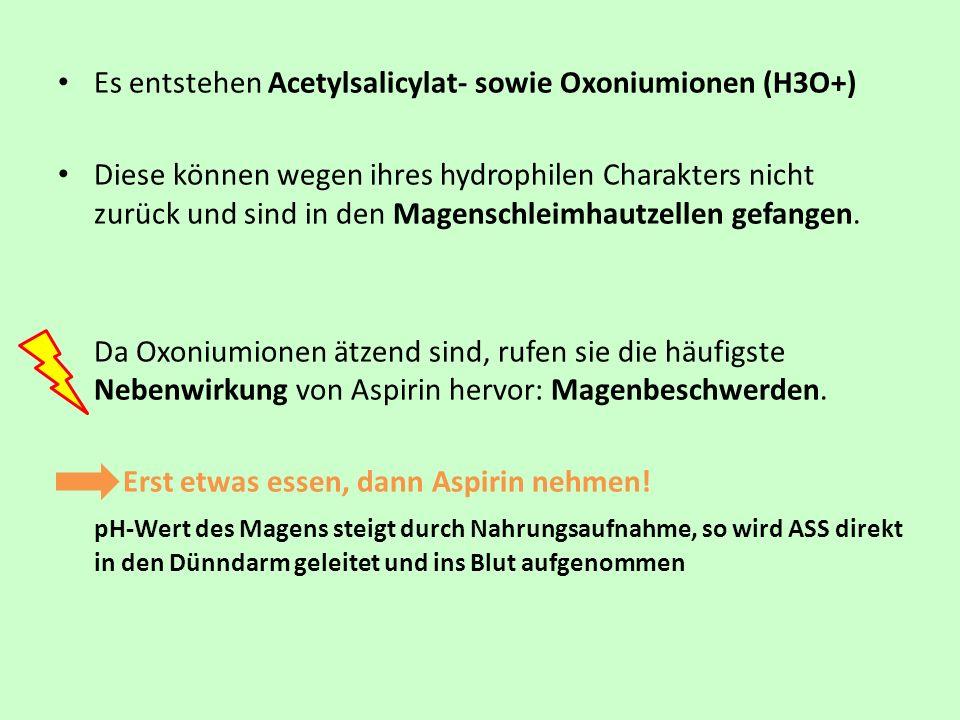 Es entstehen Acetylsalicylat- sowie Oxoniumionen (H3O+) Diese können wegen ihres hydrophilen Charakters nicht zurück und sind in den Magenschleimhautz