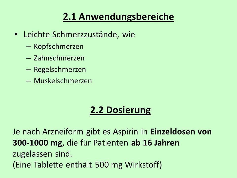 2.1 Anwendungsbereiche Leichte Schmerzzustände, wie – Kopfschmerzen – Zahnschmerzen – Regelschmerzen – Muskelschmerzen 2.2 Dosierung Je nach Arzneifor