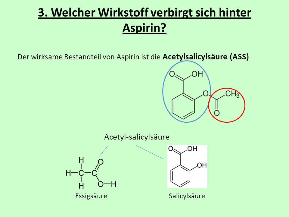 3. Welcher Wirkstoff verbirgt sich hinter Aspirin? Der wirksame Bestandteil von Aspirin ist die Acetylsalicylsäure (ASS) Acetyl-salicylsäure Essigsäur