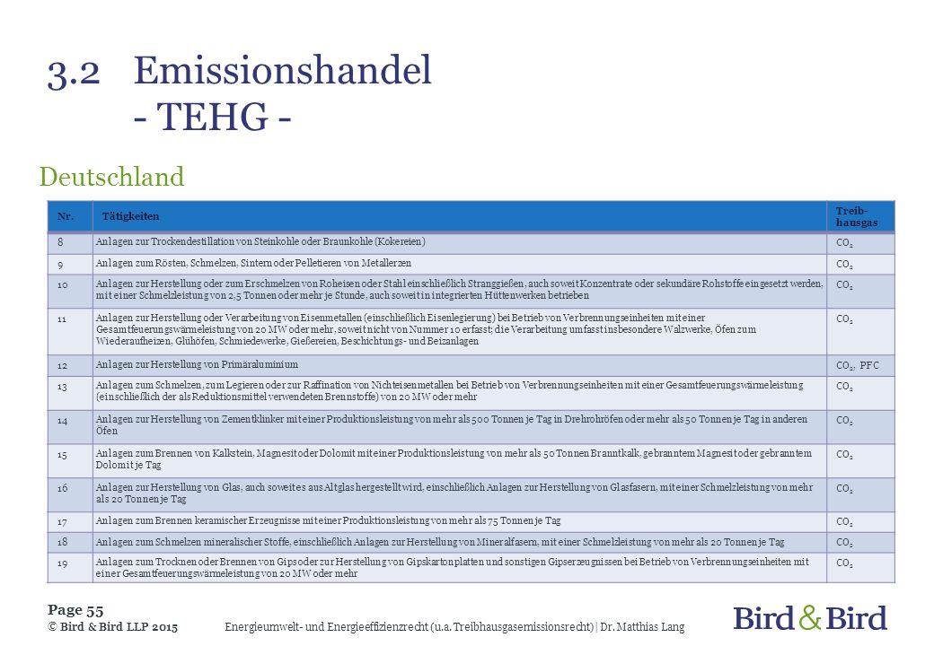3.2Emissionshandel - TEHG - Deutschland Energieumwelt- und Energieeffizienzrecht (u.a. Treibhausgasemissionsrecht)| Dr. Matthias Lang Page 55 © Bird &