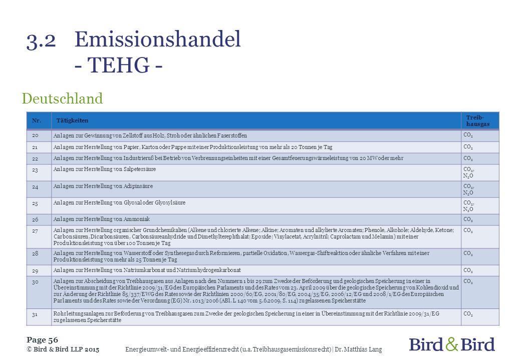 3.2Emissionshandel - TEHG - Deutschland Energieumwelt- und Energieeffizienzrecht (u.a. Treibhausgasemissionsrecht)| Dr. Matthias Lang Page 56 © Bird &