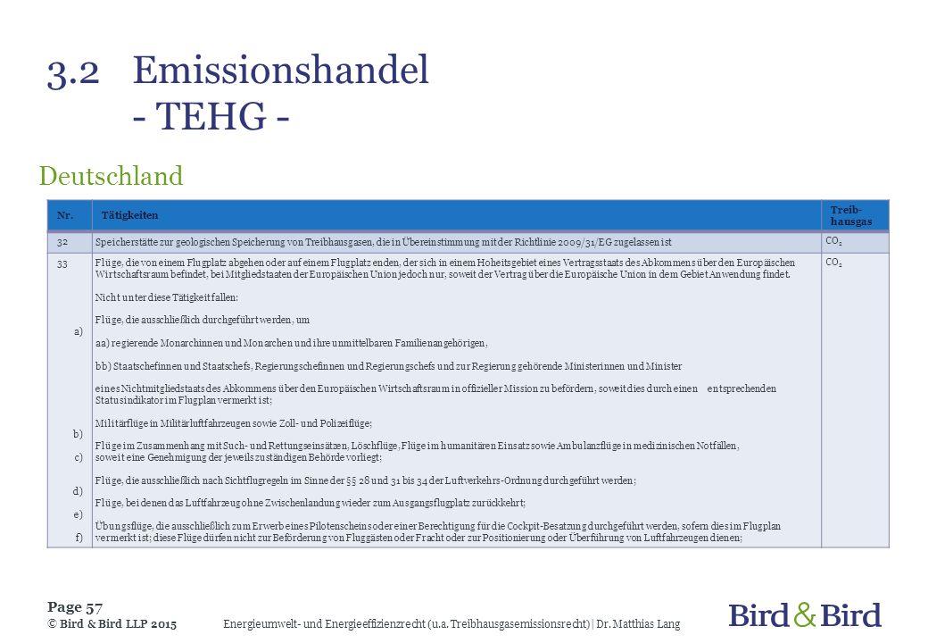 3.2Emissionshandel - TEHG - Deutschland Energieumwelt- und Energieeffizienzrecht (u.a. Treibhausgasemissionsrecht)| Dr. Matthias Lang Page 57 © Bird &