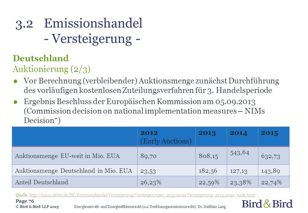 3.2Emissionshandel - Versteigerung - Deutschland Auktionierung (2/3) ●Vor Berechnung (verbleibender) Auktionsmenge zunächst Durchführung des vorläufig