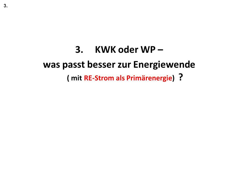 3. KWK oder WP – was passt besser zur Energiewende ( mit RE-Strom als Primärenergie) 3.