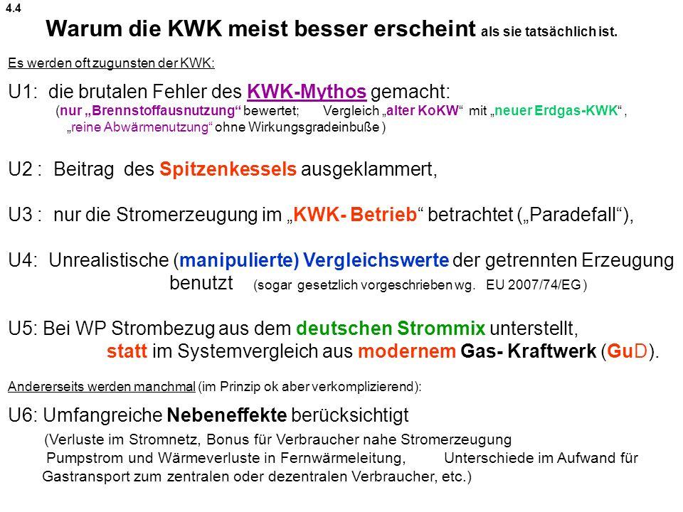 """Es werden oft zugunsten der KWK: U1: die brutalen Fehler des KWK-Mythos gemacht: (nur """"Brennstoffausnutzung bewertet; Vergleich """"alter KoKW mit """"neuer Erdgas-KWK , """"reine Abwärmenutzung ohne Wirkungsgradeinbuße ) U2 : Beitrag des Spitzenkessels ausgeklammert, U3 : nur die Stromerzeugung im """"KWK- Betrieb betrachtet (""""Paradefall ), U4: Unrealistische (manipulierte) Vergleichswerte der getrennten Erzeugung benutzt (sogar gesetzlich vorgeschrieben wg."""