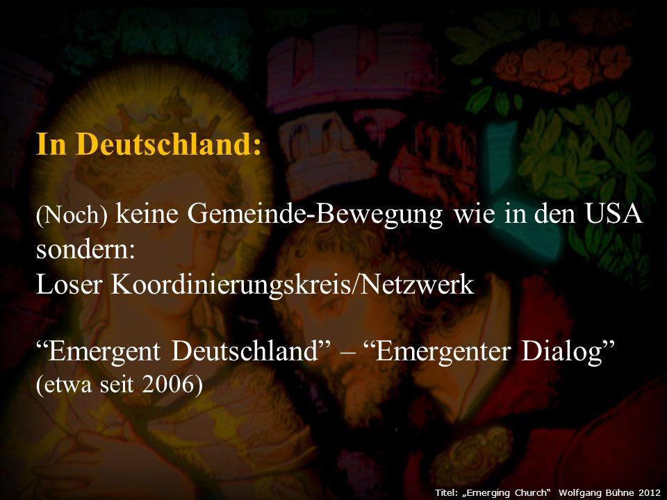 """Titel: """"Emerging Church Wolfgang Bühne 2012 Typisch für die""""Emerging Church -Bewegung: Ein guter Geschichten-Erzähler Ein hartnäckiger Fragensteller (in diesem Buch über 350 Fragen - ohne klare Antworten) Keine biblische Argumentation """"Die Bibel ist ein menschliches Produkt und nicht ein Produkt göttlichen Redens. """"Wir entdecken das Christentum neu als eine östliche Religion, als einen Lebenstil."""