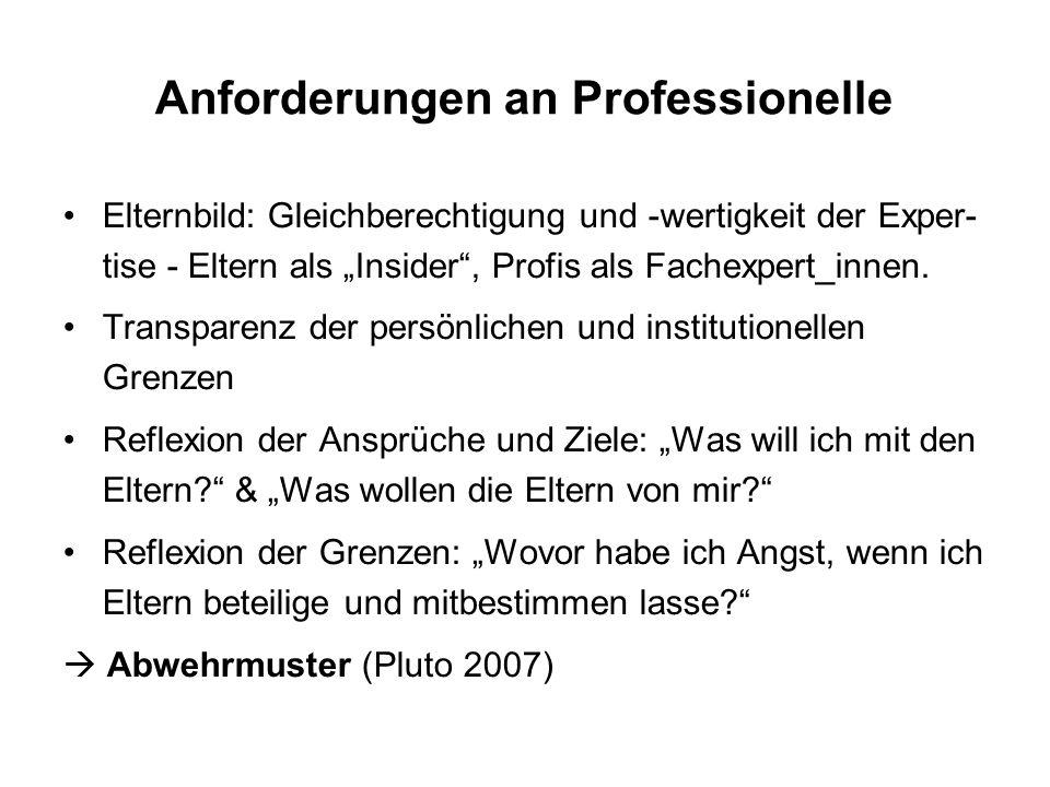 """Anforderungen an Professionelle Elternbild: Gleichberechtigung und -wertigkeit der Exper- tise - Eltern als """"Insider , Profis als Fachexpert_innen."""