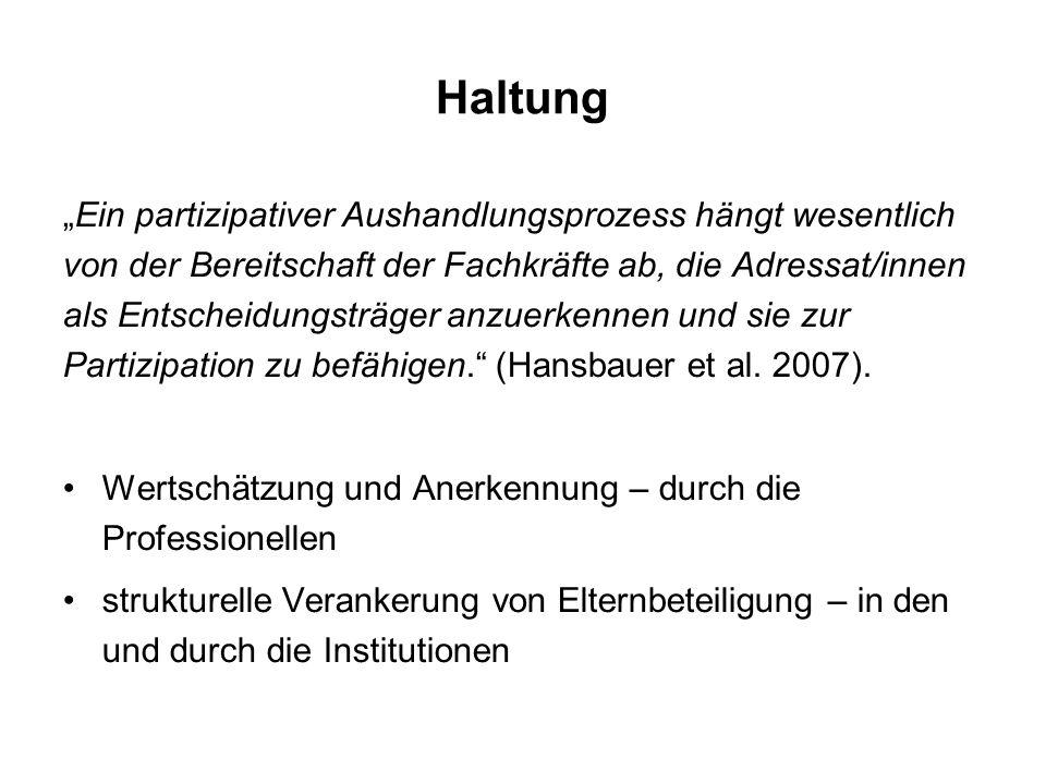 """Haltung """"Ein partizipativer Aushandlungsprozess hängt wesentlich von der Bereitschaft der Fachkräfte ab, die Adressat/innen als Entscheidungsträger anzuerkennen und sie zur Partizipation zu befähigen. (Hansbauer et al."""