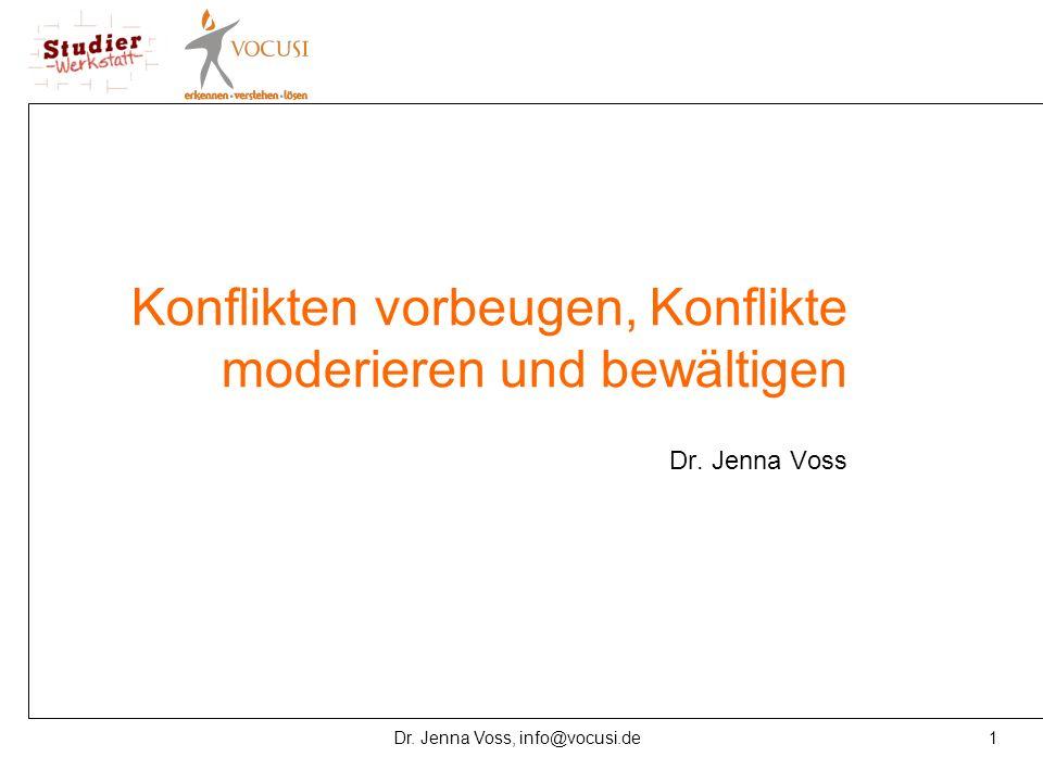 1Dr. Jenna Voss, info@vocusi.de Konflikten vorbeugen, Konflikte moderieren und bewältigen Dr. Jenna Voss