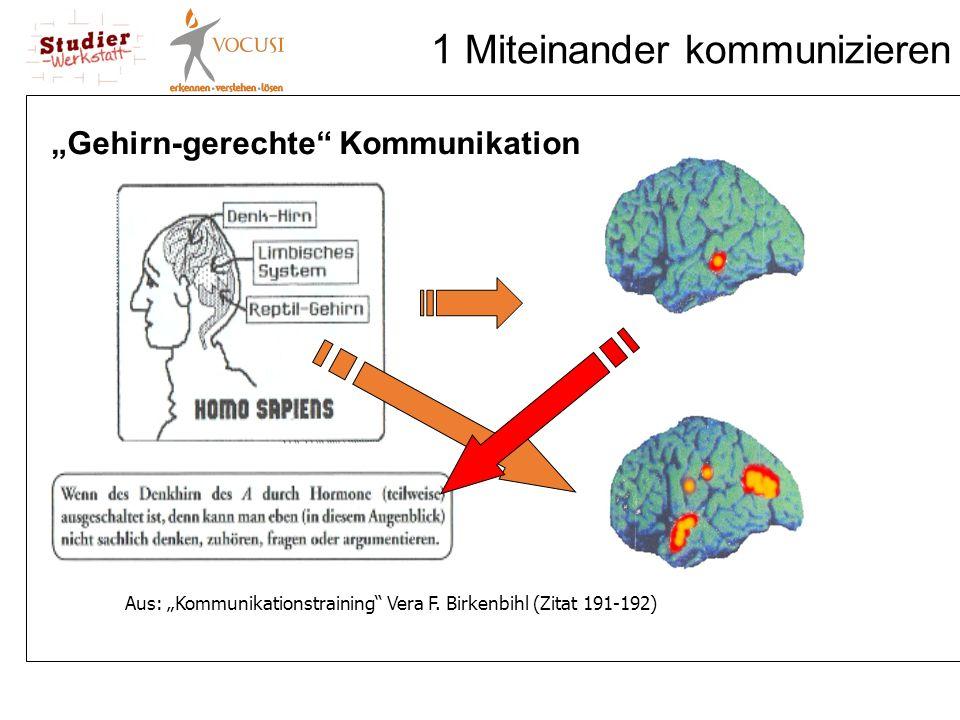 """1 Miteinander kommunizieren Aus: """"Kommunikationstraining"""" Vera F. Birkenbihl (Zitat 191-192) """"Gehirn-gerechte"""" Kommunikation"""