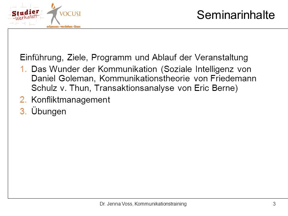 3Dr. Jenna Voss, Kommunikationstraining Seminarinhalte Einführung, Ziele, Programm und Ablauf der Veranstaltung 1.Das Wunder der Kommunikation (Sozial