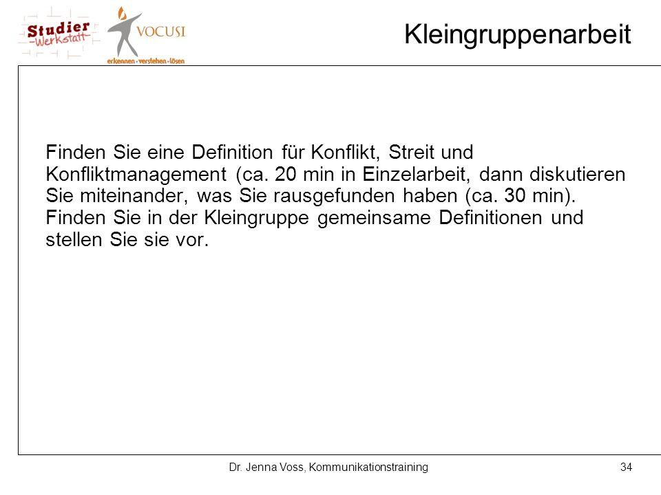 34Dr. Jenna Voss, Kommunikationstraining Kleingruppenarbeit Finden Sie eine Definition für Konflikt, Streit und Konfliktmanagement (ca. 20 min in Einz