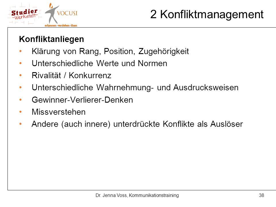 38Dr. Jenna Voss, Kommunikationstraining 2 Konfliktmanagement Konfliktanliegen Klärung von Rang, Position, Zugehörigkeit Unterschiedliche Werte und No