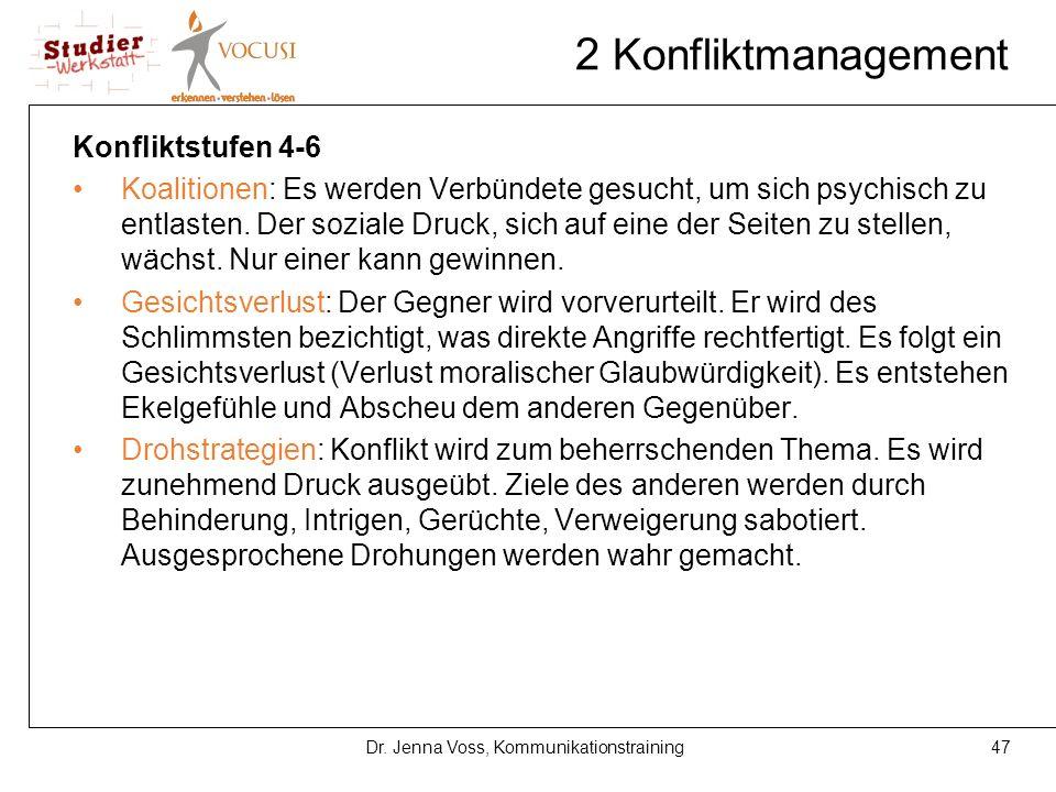 47Dr. Jenna Voss, Kommunikationstraining 2 Konfliktmanagement Konfliktstufen 4-6 Koalitionen: Es werden Verbündete gesucht, um sich psychisch zu entla