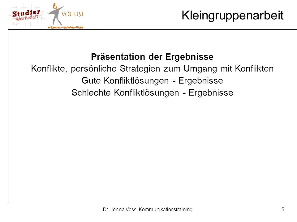 5Dr. Jenna Voss, Kommunikationstraining Kleingruppenarbeit Präsentation der Ergebnisse Konflikte, persönliche Strategien zum Umgang mit Konflikten Gut