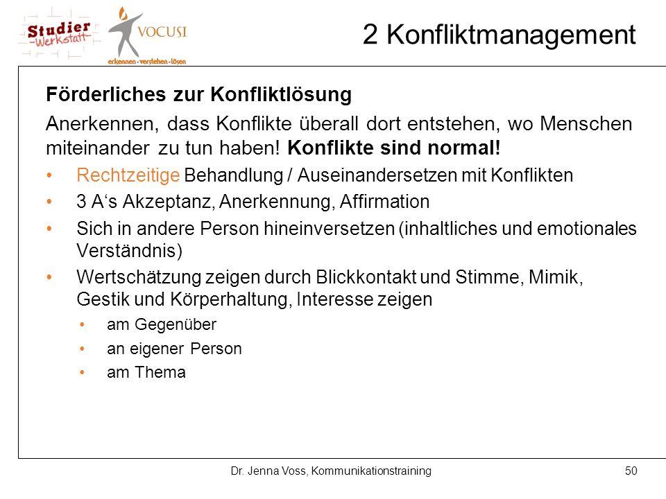 50Dr. Jenna Voss, Kommunikationstraining 2 Konfliktmanagement Förderliches zur Konfliktlösung Anerkennen, dass Konflikte überall dort entstehen, wo Me