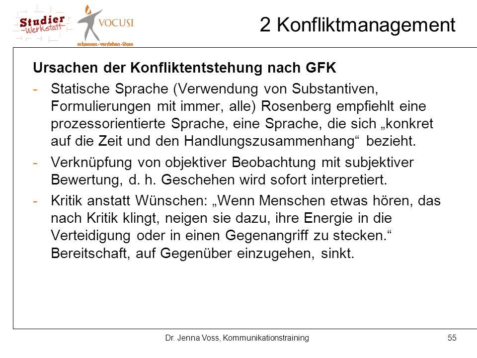 55Dr. Jenna Voss, Kommunikationstraining 2 Konfliktmanagement Ursachen der Konfliktentstehung nach GFK -Statische Sprache (Verwendung von Substantiven
