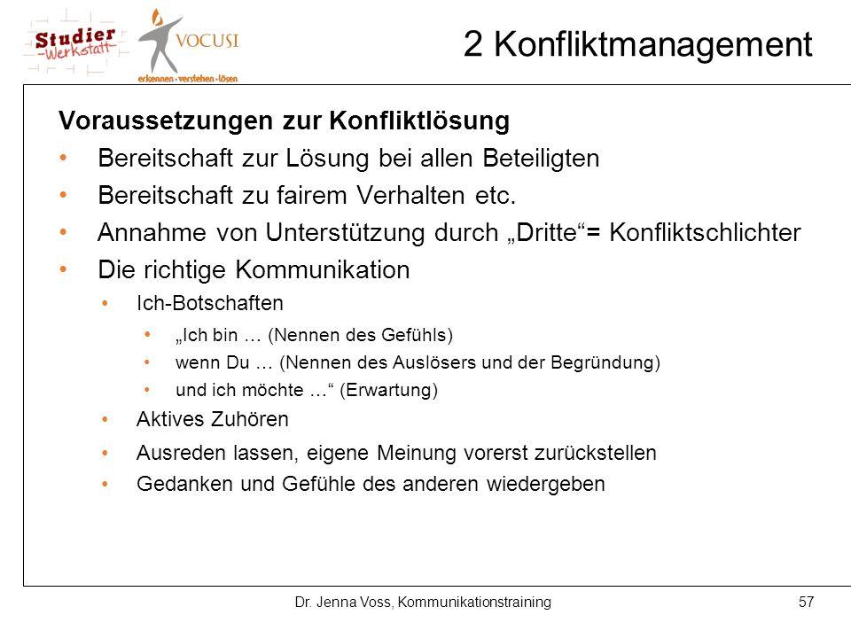 57Dr. Jenna Voss, Kommunikationstraining 2 Konfliktmanagement Voraussetzungen zur Konfliktlösung Bereitschaft zur Lösung bei allen Beteiligten Bereits