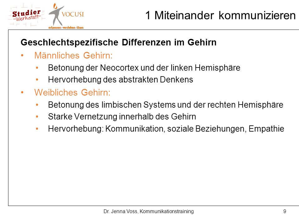 9Dr. Jenna Voss, Kommunikationstraining 1 Miteinander kommunizieren Geschlechtspezifische Differenzen im Gehirn Männliches Gehirn: Betonung der Neocor