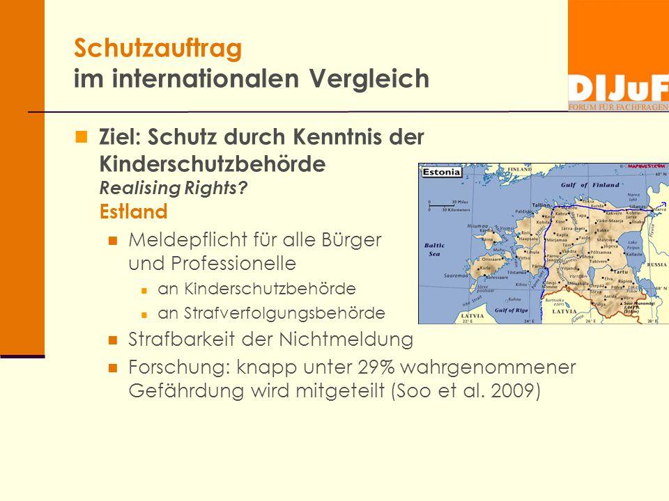 Schutzauftrag im internationalen Vergleich Ziel: Schutz durch Kenntnis der Kinderschutzbehörde Realising Rights? Estland Meldepflicht für alle Bürger