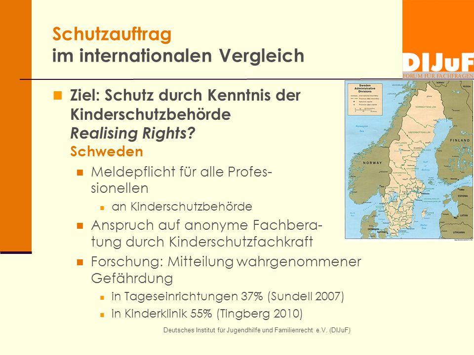 Deutsches Institut für Jugendhilfe und Familienrecht e.V. (DIJuF) Schutzauftrag im internationalen Vergleich Ziel: Schutz durch Kenntnis der Kindersch