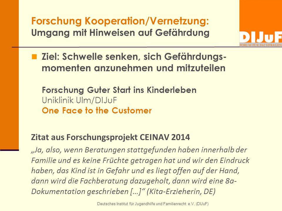 Deutsches Institut für Jugendhilfe und Familienrecht e.V. (DIJuF) Forschung Kooperation/Vernetzung: Umgang mit Hinweisen auf Gefährdung Ziel: Schwelle