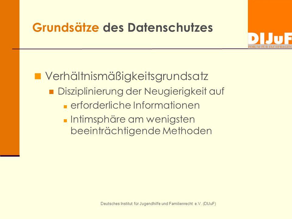 Deutsches Institut für Jugendhilfe und Familienrecht e.V. (DIJuF) Grundsätze des Datenschutzes Verhältnismäßigkeitsgrundsatz Disziplinierung der Neugi