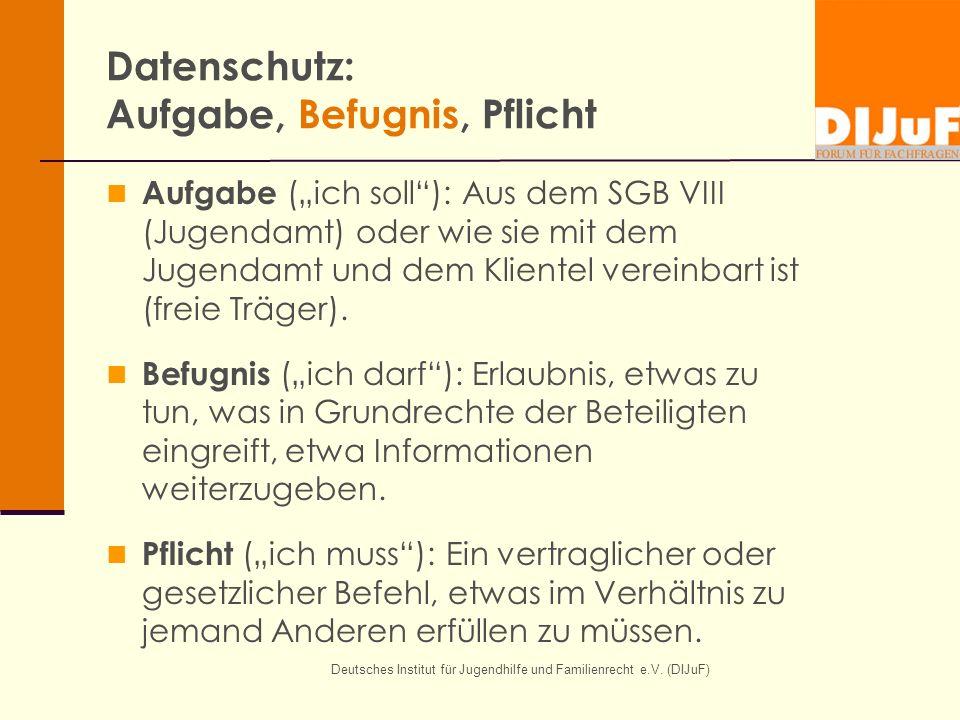 """Deutsches Institut für Jugendhilfe und Familienrecht e.V. (DIJuF) Datenschutz: Aufgabe, Befugnis, Pflicht Aufgabe (""""ich soll""""): Aus dem SGB VIII (Juge"""