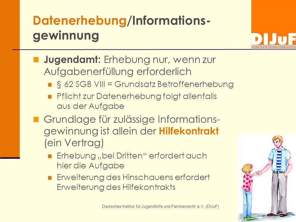 Deutsches Institut für Jugendhilfe und Familienrecht e.V. (DIJuF) Datenerhebung/Informations- gewinnung Jugendamt: Erhebung nur, wenn zur Aufgabenerfü