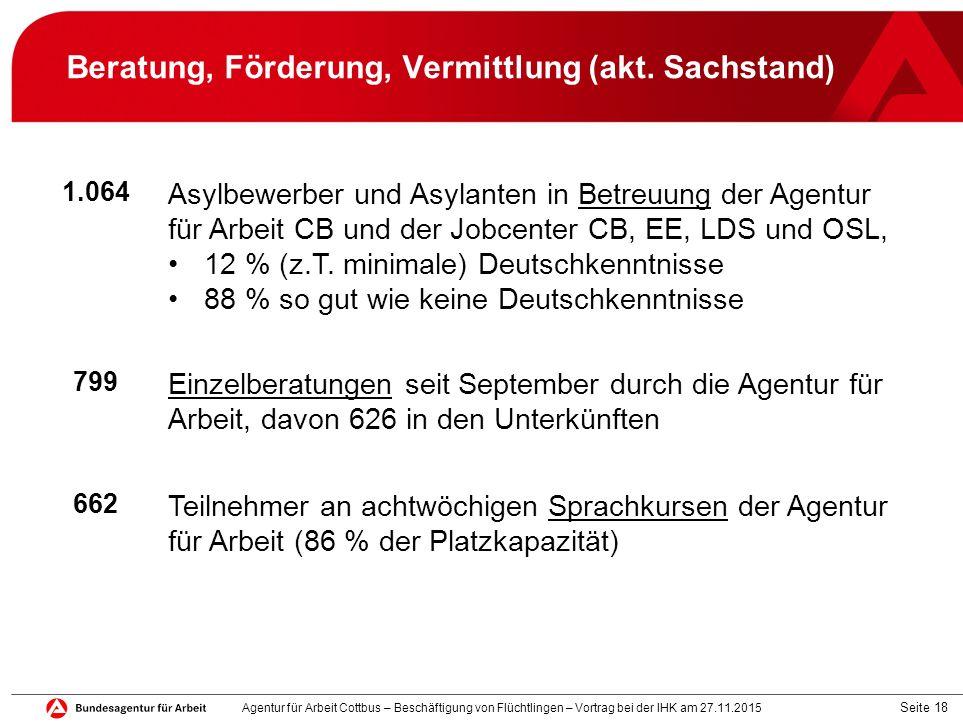 Seite 18 Beratung, Förderung, Vermittlung (akt. Sachstand) 1.064 Asylbewerber und Asylanten in Betreuung der Agentur für Arbeit CB und der Jobcenter C