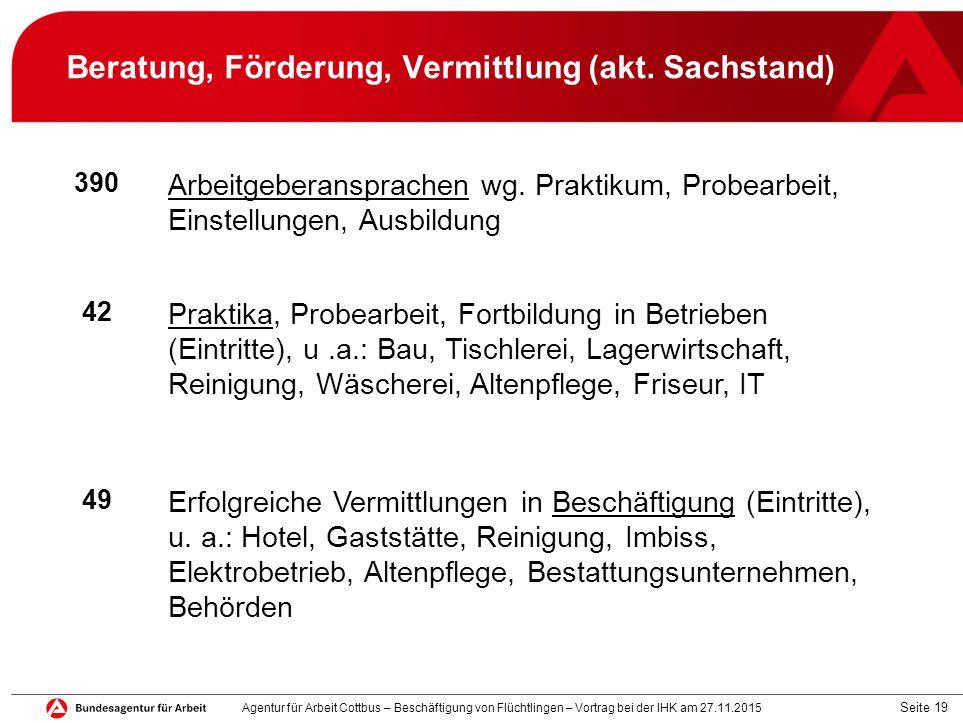 Seite 19 Beratung, Förderung, Vermittlung (akt. Sachstand) 390 Arbeitgeberansprachen wg. Praktikum, Probearbeit, Einstellungen, Ausbildung 42 Praktika