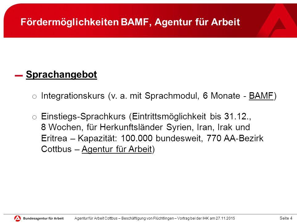 Seite 4 Fördermöglichkeiten BAMF, Agentur für Arbeit ▬ Sprachangebot o Integrationskurs (v. a. mit Sprachmodul, 6 Monate - BAMF) o Einstiegs-Sprachkur