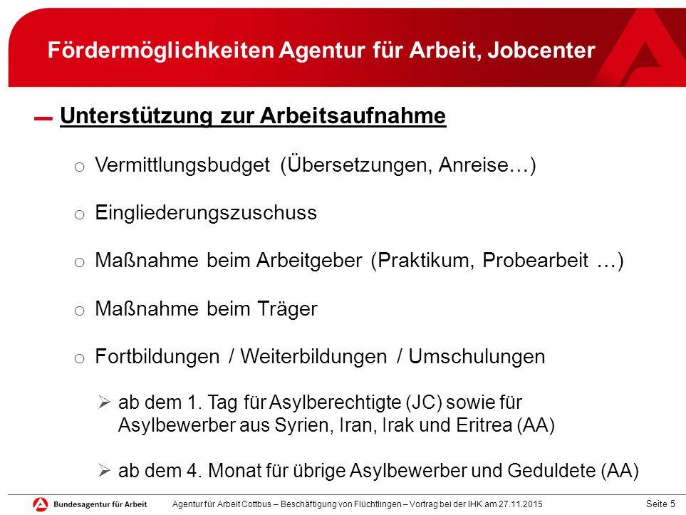 Seite 5 Fördermöglichkeiten Agentur für Arbeit, Jobcenter ▬ Unterstützung zur Arbeitsaufnahme o Vermittlungsbudget (Übersetzungen, Anreise…) o Einglie