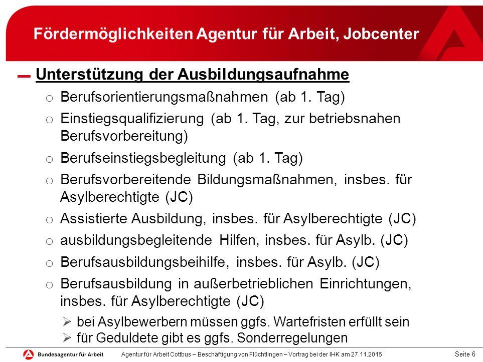 Seite 6 Fördermöglichkeiten Agentur für Arbeit, Jobcenter ▬ Unterstützung der Ausbildungsaufnahme o Berufsorientierungsmaßnahmen (ab 1. Tag) o Einstie