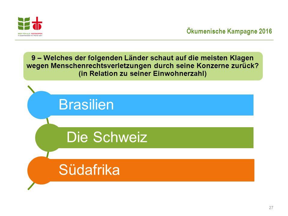Ökumenische Kampagne 2016 27 9 – Welches der folgenden Länder schaut auf die meisten Klagen wegen Menschenrechtsverletzungen durch seine Konzerne zurück.