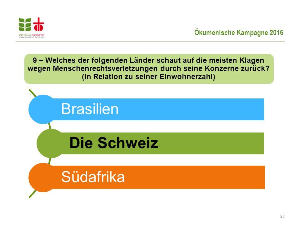 Ökumenische Kampagne 2016 28 Brasilien Die Schweiz Südafrika 9 – Welches der folgenden Länder schaut auf die meisten Klagen wegen Menschenrechtsverletzungen durch seine Konzerne zurück.