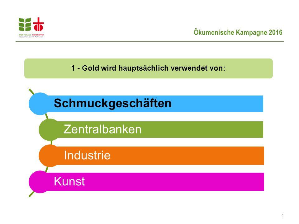 Ökumenische Kampagne 2016 4 1 - Gold wird hauptsächlich verwendet von: Schmuckgeschäften Zentralbanken Industrie Kunst